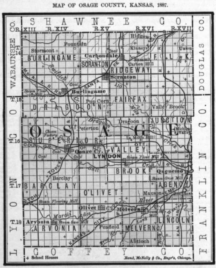 Image of 1887 Osage County, Kansas map showing locations of rural schools, copied from Fifth Biennial Report of the Kansas State Board of Agriculture.