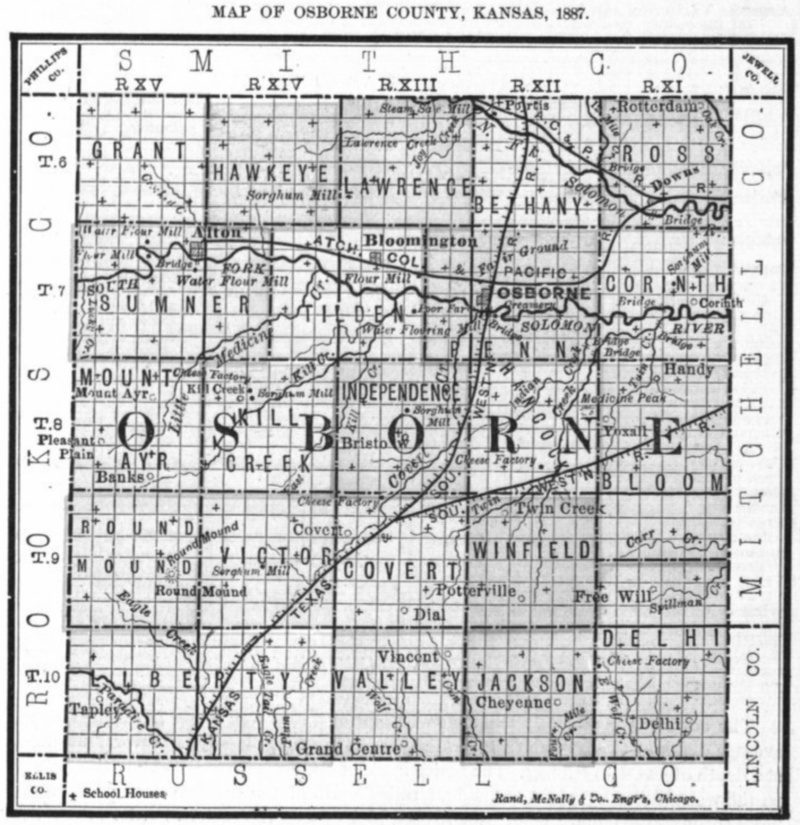 Image of 1887 Osborne County, Kansas map showing locations of rural schools, copied from Fifth Biennial Report of the Kansas State Board of Agriculture.