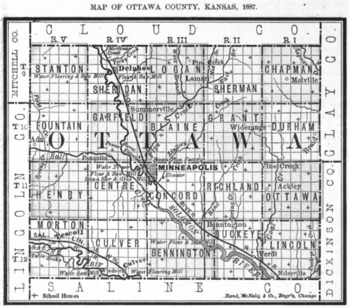 Image of 1887 Ottawa County, Kansas map showing locations of rural schools, copied from Fifth Biennial Report of the Kansas State Board of Agriculture.