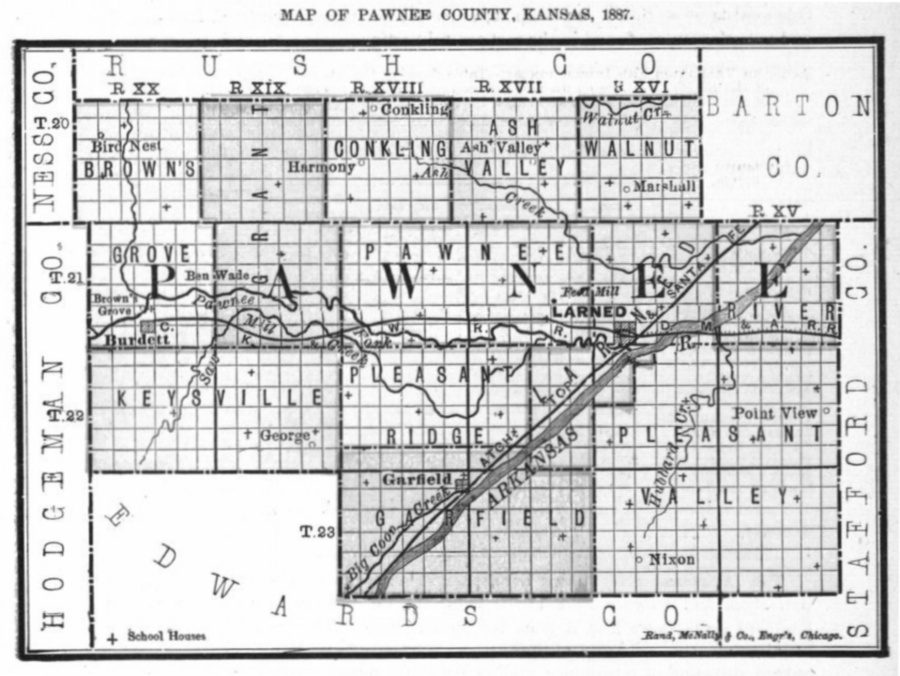 Image of 1887 Pawnee County, Kansas map showing locations of rural schools, copied from Fifth Biennial Report of the Kansas State Board of Agriculture.