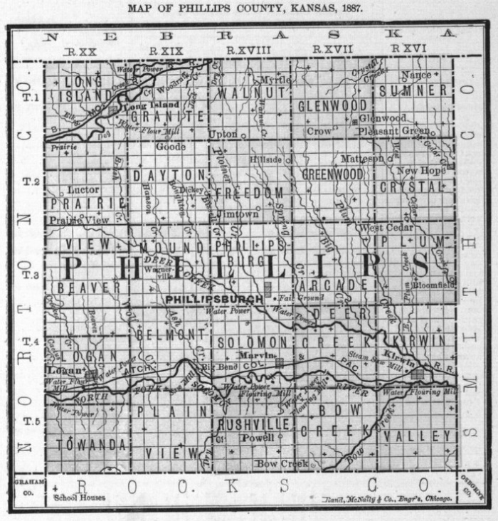 Image of 1887 Phillips County, Kansas map showing locations of rural schools, copied from Fifth Biennial Report of the Kansas State Board of Agriculture.