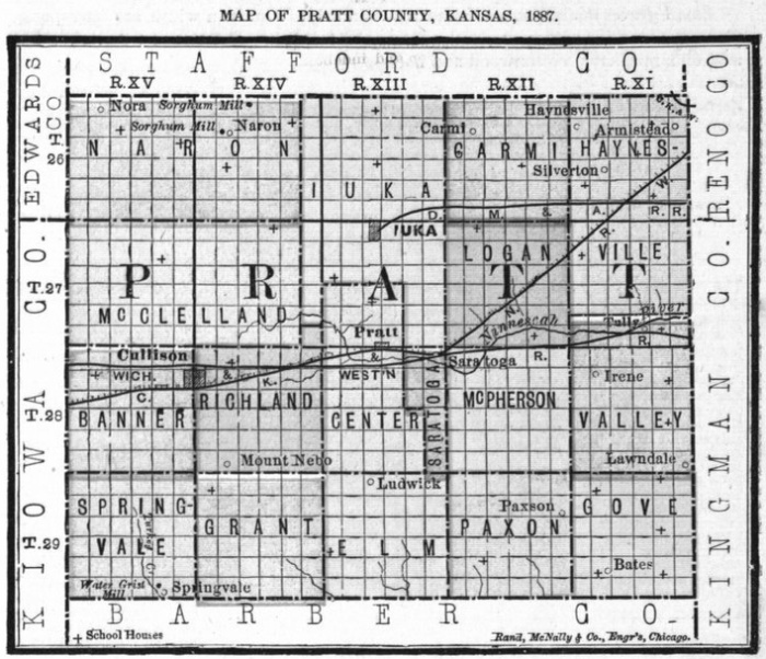 Image of 1887 Pratt County, Kansas map showing locations of rural schools, copied from Fifth Biennial Report of the Kansas State Board of Agriculture.