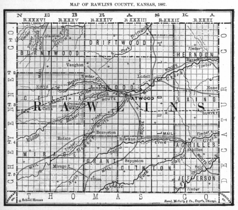 Image of 1887 Rawlins County, Kansas map showing locations of rural schools, copied from Fifth Biennial Report of the Kansas State Board of Agriculture.