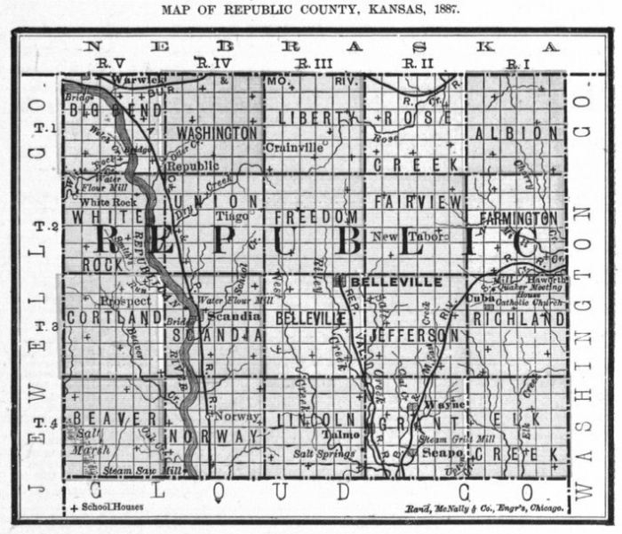 Image of 1887 Republic County, Kansas map showing locations of rural schools, copied from Fifth Biennial Report of the Kansas State Board of Agriculture.