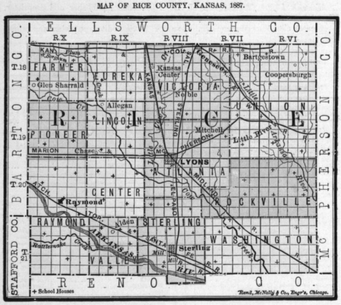 Image of 1887 Rice County, Kansas map showing locations of rural schools, copied from Fifth Biennial Report of the Kansas State Board of Agriculture.