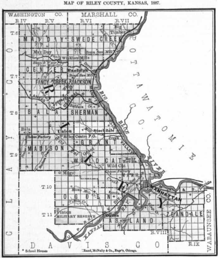 Image of 1887 Riley County, Kansas map showing locations of rural schools, copied from Fifth Biennial Report of the Kansas State Board of Agriculture.