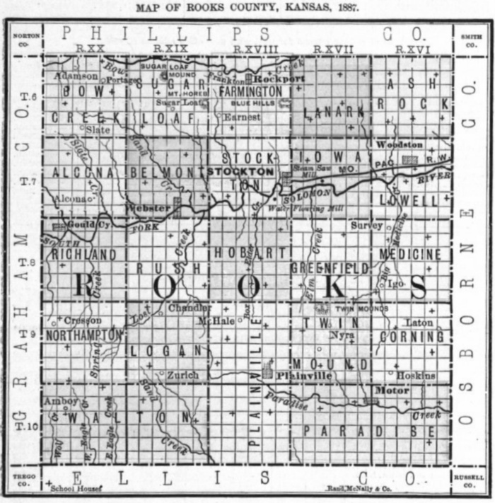 Image of 1887 Rooks County, Kansas map showing locations of rural schools, copied from Fifth Biennial Report of the Kansas State Board of Agriculture.