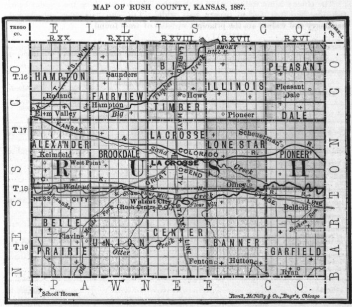Image of 1887 Rush County, Kansas map showing locations of rural schools, copied from Fifth Biennial Report of the Kansas State Board of Agriculture.