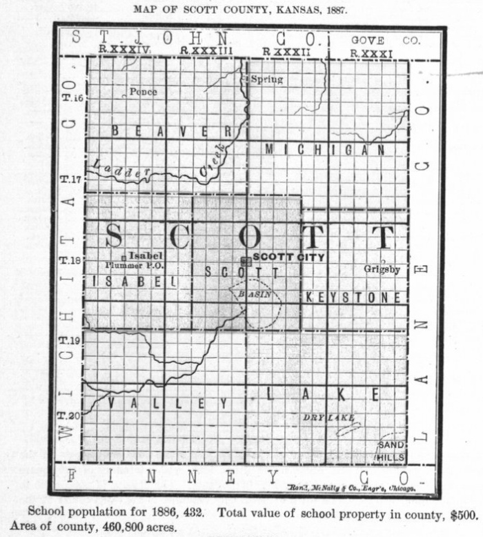 Image of 1887 Scott County, Kansas map, copied from Fifth Biennial Report of the Kansas State Board of Agriculture.