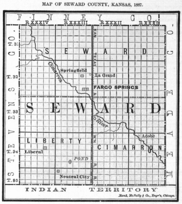 Image of 1887 Seward County, Kansas map, copied from Fifth Biennial Report of the Kansas State Board of Agriculture.
