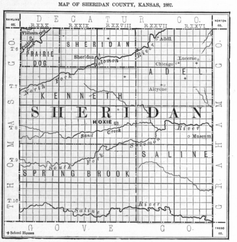 Image of 1887 Sheridan County, Kansas map showing locations of rural schools, copied from Fifth Biennial Report of the Kansas State Board of Agriculture.