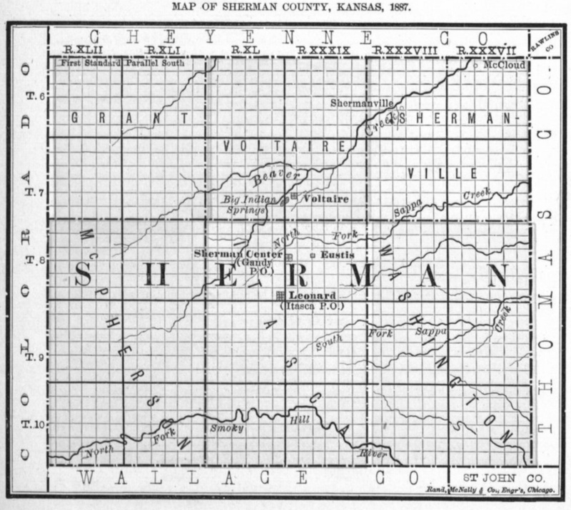 Image of 1887 Sherman County, Kansas map, copied from Fifth Biennial Report of the Kansas State Board of Agriculture.