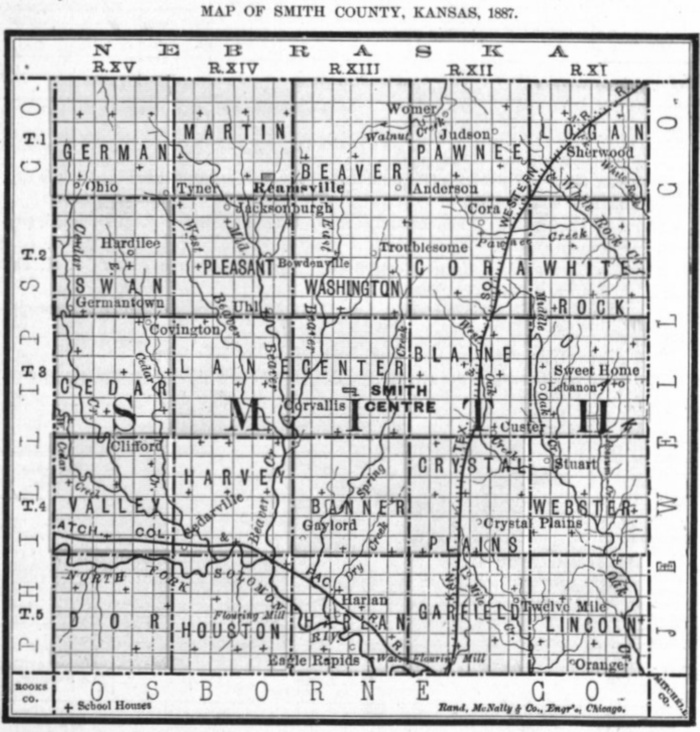 Image of 1887 Smith County, Kansas map showing locations of rural schools, copied from Fifth Biennial Report of the Kansas State Board of Agriculture.