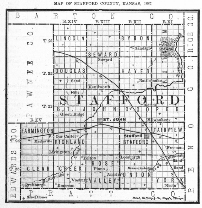 Image of 1887 Stafford County, Kansas map showing locations of rural schools, copied from Fifth Biennial Report of the Kansas State Board of Agriculture.