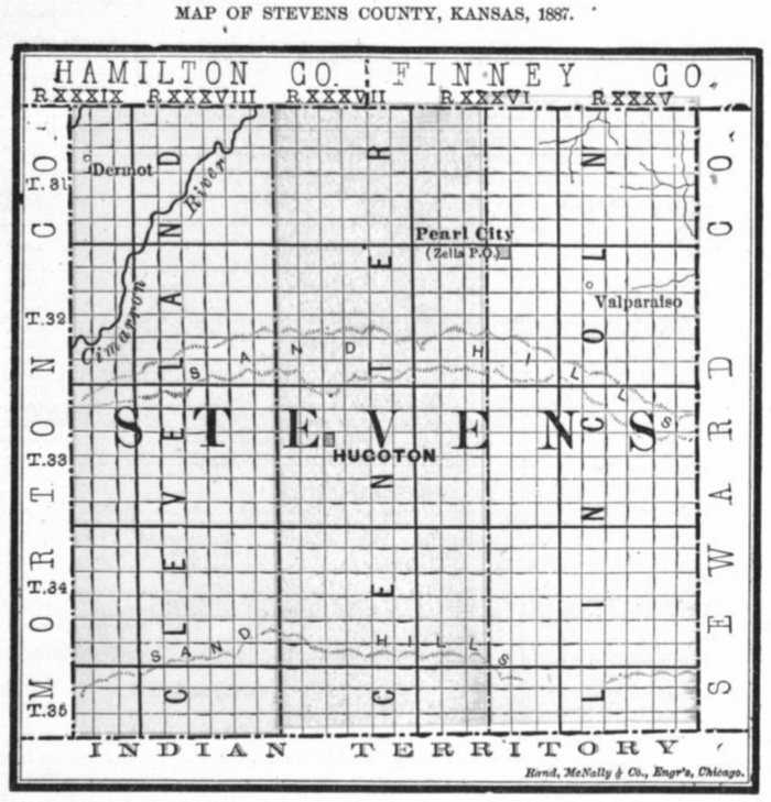 Image of 1887 Stevens County, Kansas map, copied from Fifth Biennial Report of the Kansas State Board of Agriculture.
