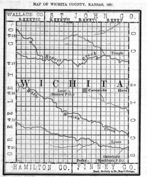 Image of 1887 Wichita County, Kansas map, copied from Fifth Biennial Report of the Kansas State Board of Agriculture.