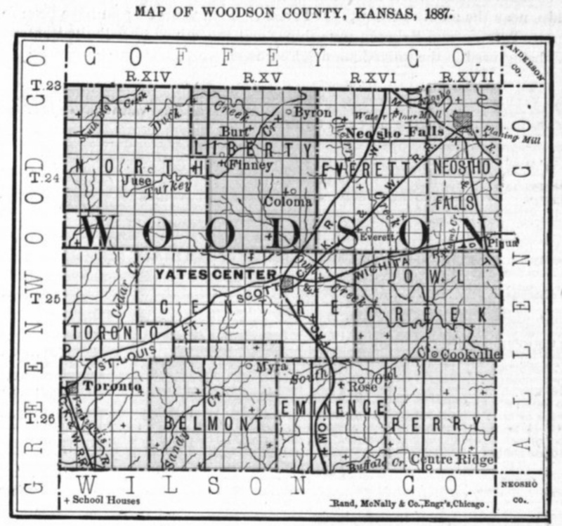 Image of 1887 Woodson County, Kansas map showing locations of rural schools, copied from Fifth Biennial Report of the Kansas State Board of Agriculture.