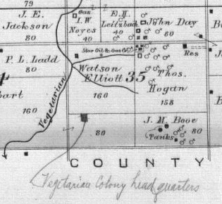 Image of map showing the location of Vegetarian Colony, Twp 26 South, Ranges 17 & 18 East, Allen Co. 1906 plat map