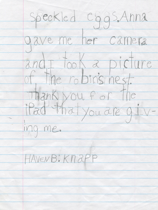 Haven Knapp letter