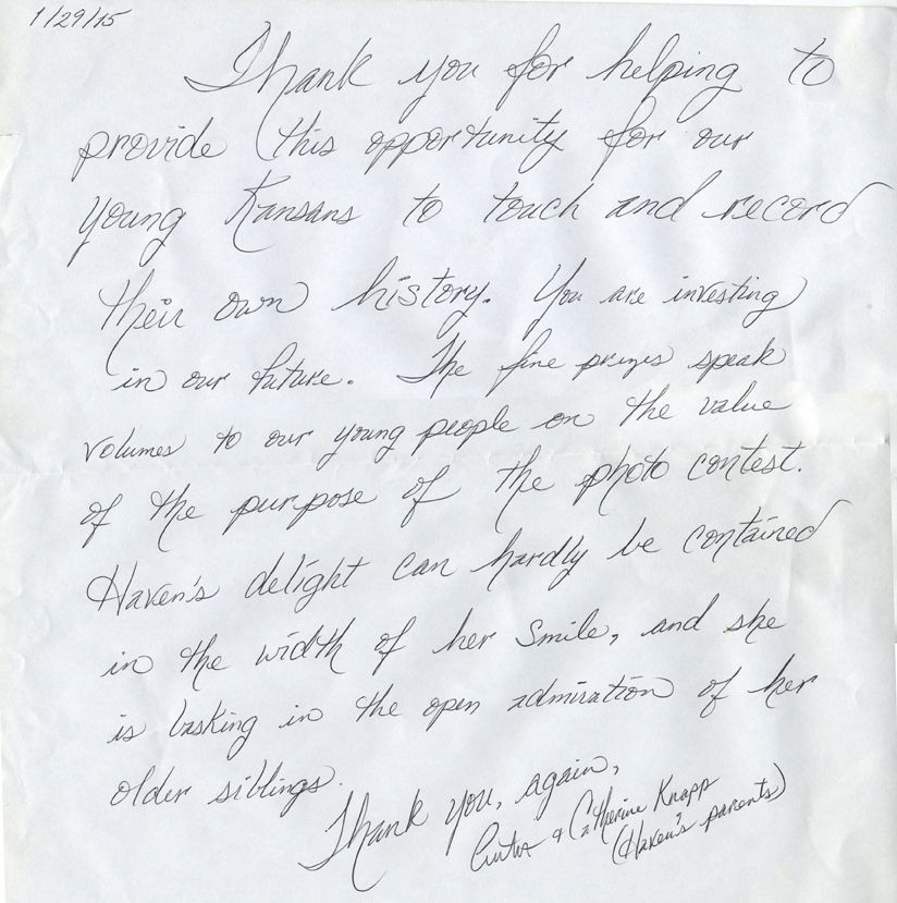 Letter from Haven Knapp's parents