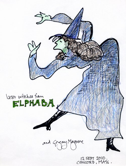 Elphaba cartoon by Gregory Maguire