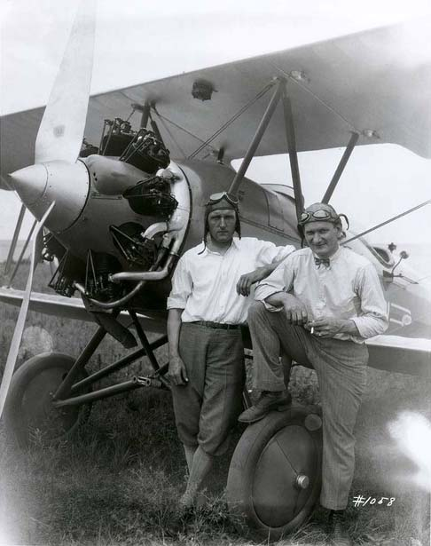 Photograph of Walter  Beech (left) and Brice H.  Goldsborough with the Travel Air, 1926