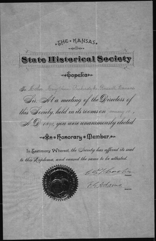 Certificate from Kansas Historical Society to Bickerdyke