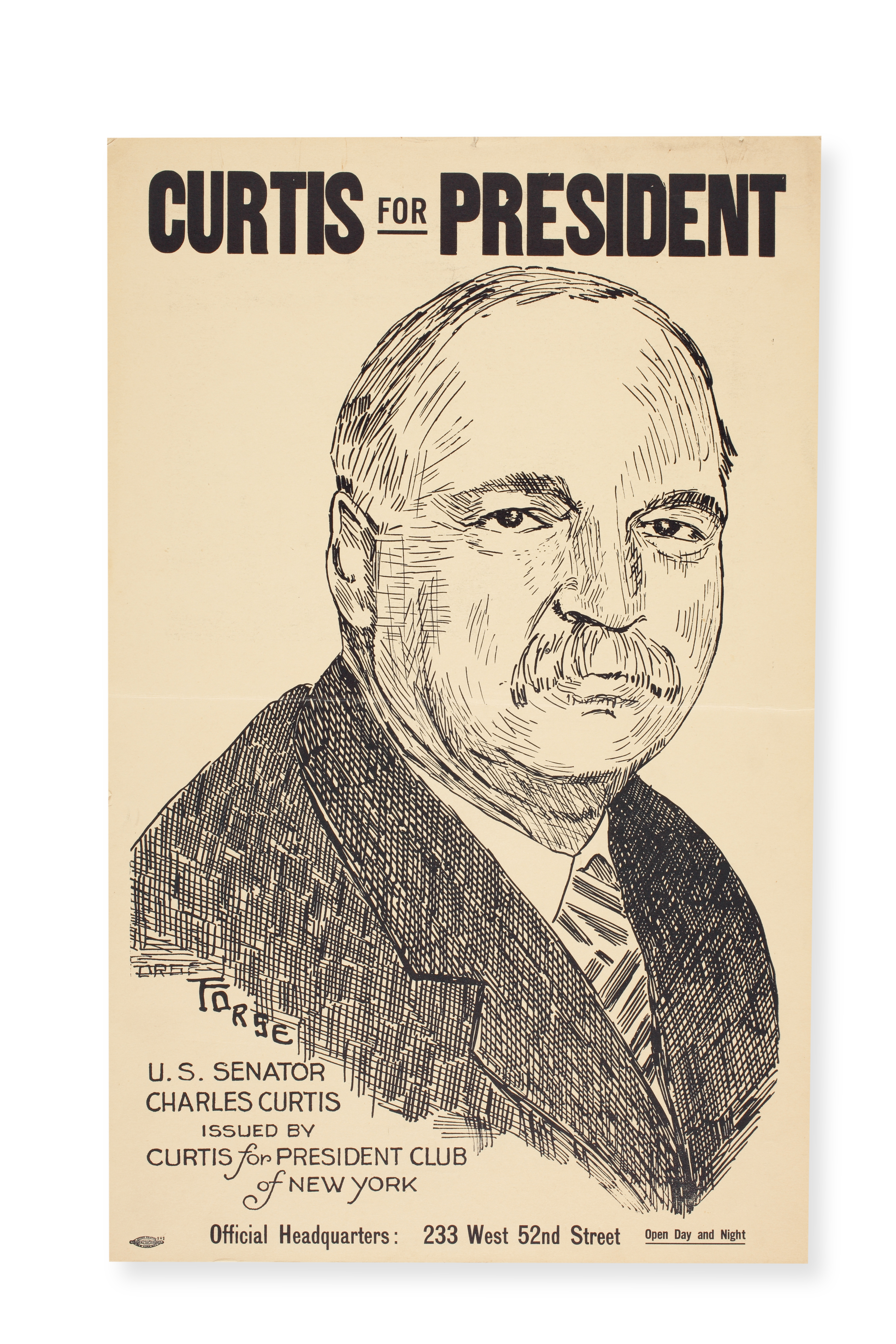 Poster for 1928 Curtis for president campaign
