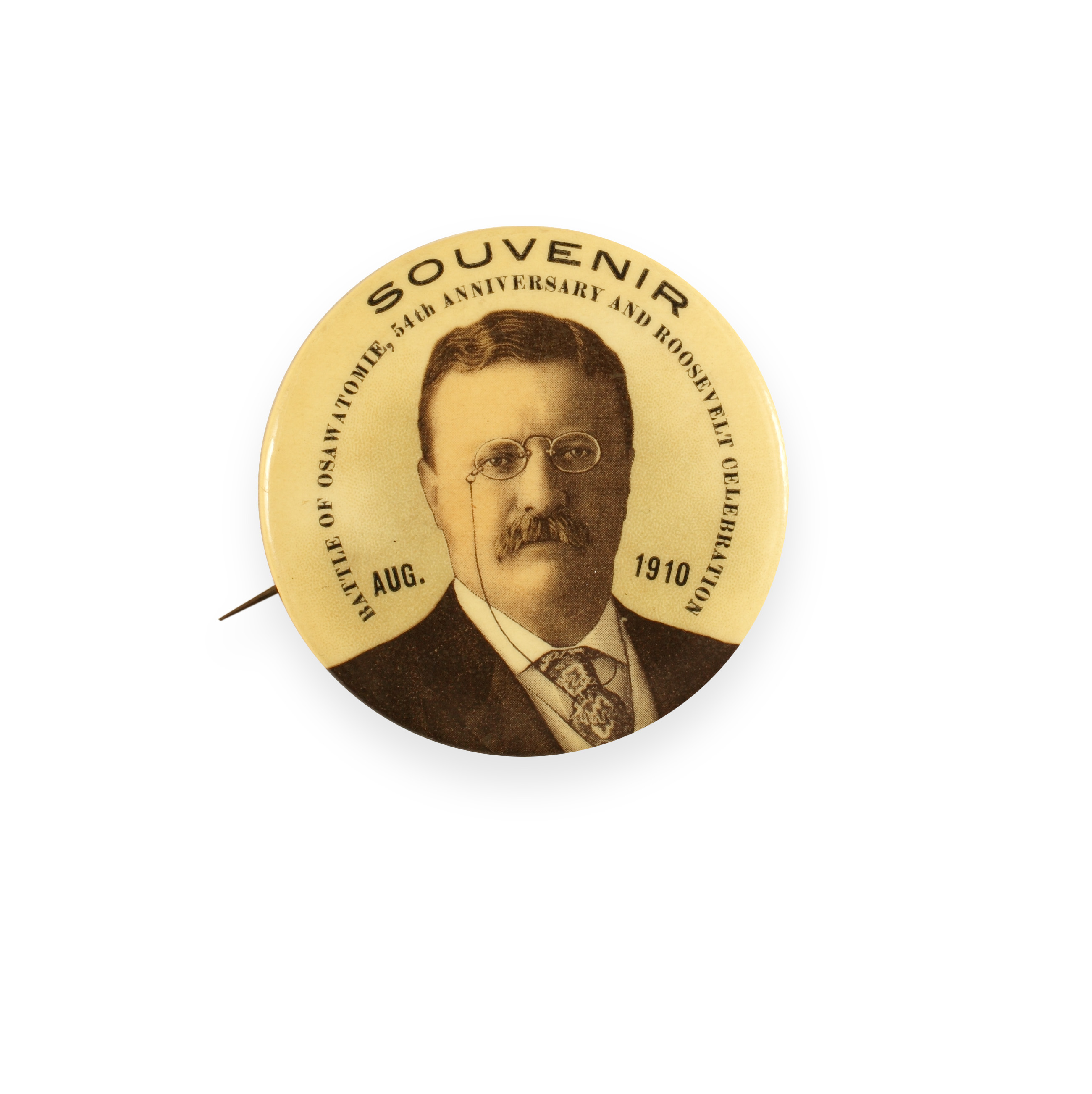 Souvenir button for Theodore Roosevelt's 1910 visit to Osawatomie