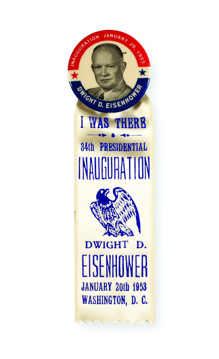 Eisenhower inaugural button and ribbon