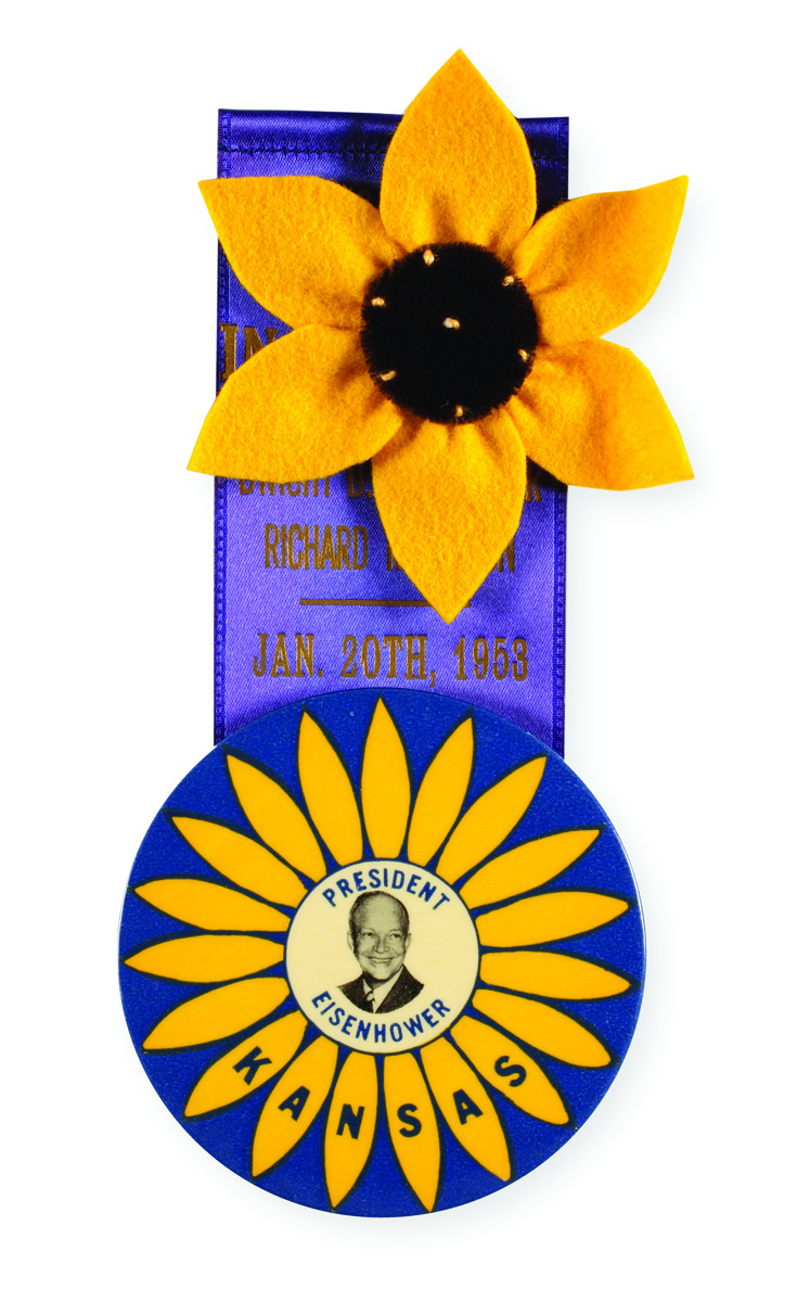 Eisenhower inaugural sunflower button and ribbon