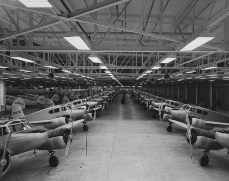 Cessna Aircraft Company assembly line, 1944