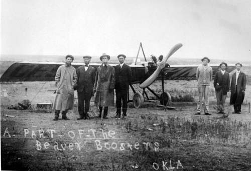 Clyde V. Cessna, fourth from left, with the first plane he built in Wichita, taken circa 1917 in Oklahoma