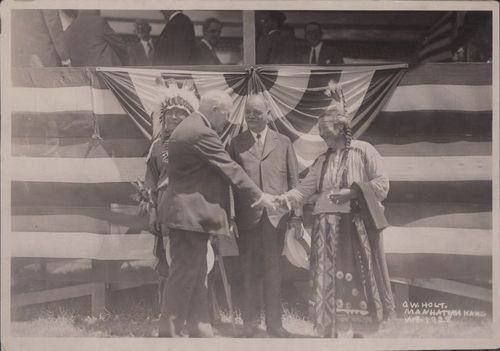 Charles Curtis standing between two Pawnee Indians at dedication of First Territorial Capitol