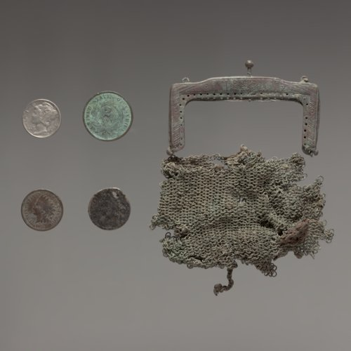 Coins and coin purse from Martindale Cabin, 1859-1842