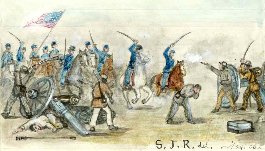 The battle at Mine Creek in a drawing by Samuel Reader.