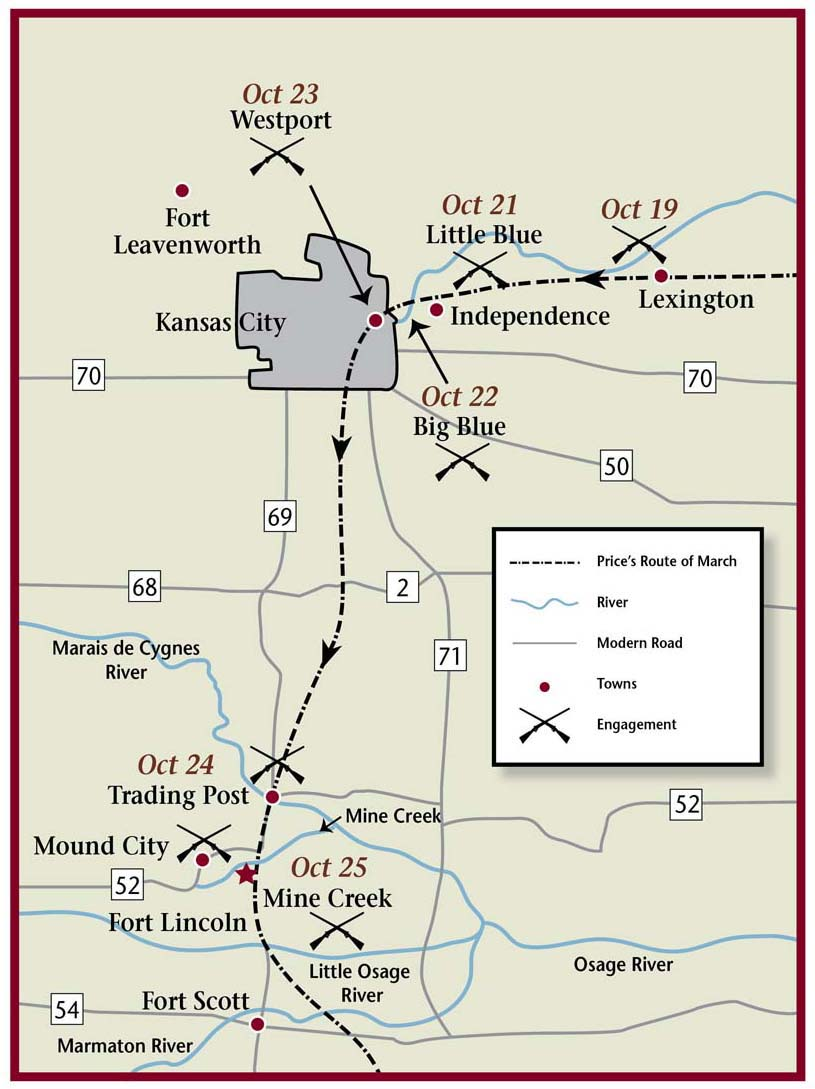 Map of northeast Kansas highlighting battles fought in October 1864.