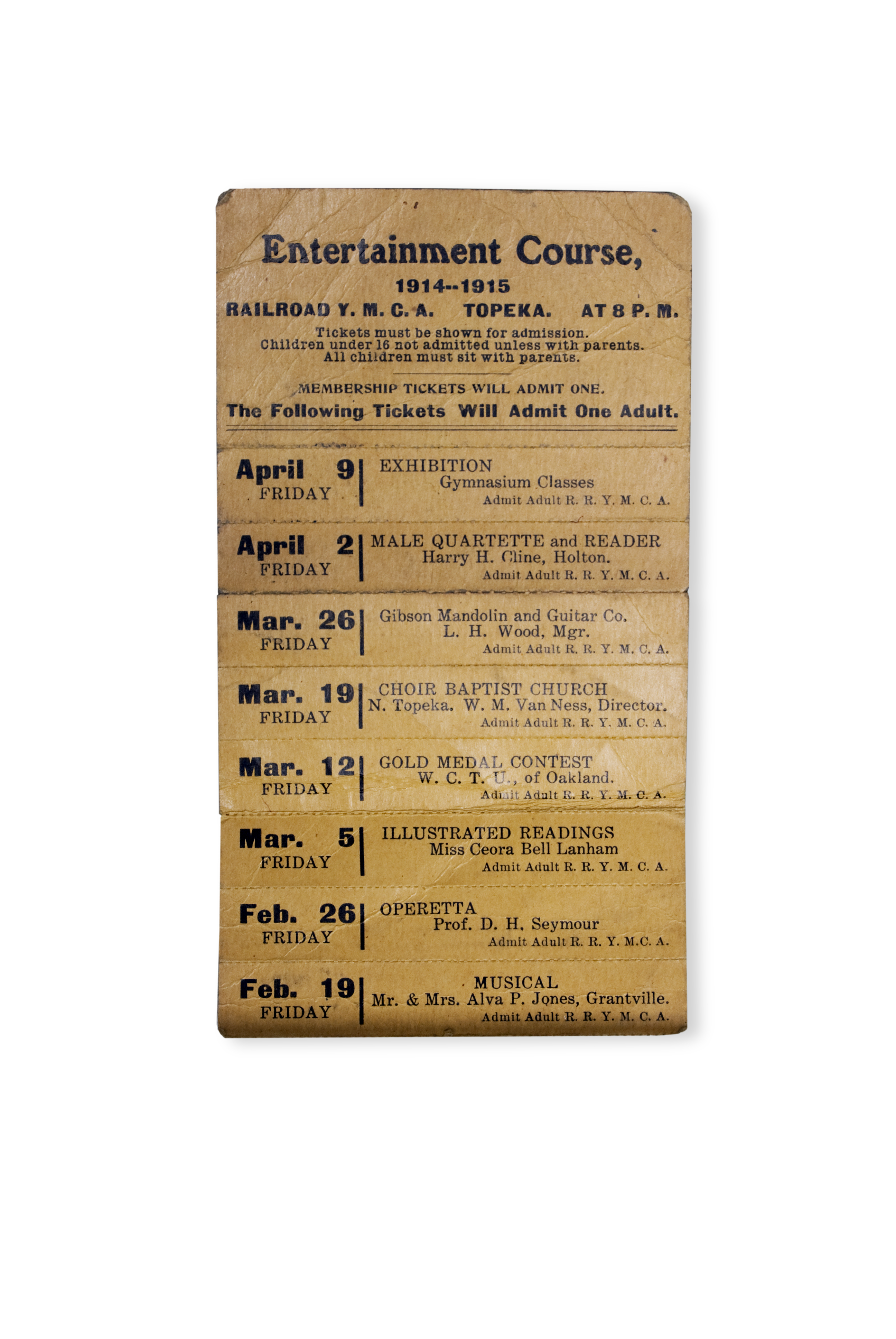 1914-1915 railroad tickets, entertainment course