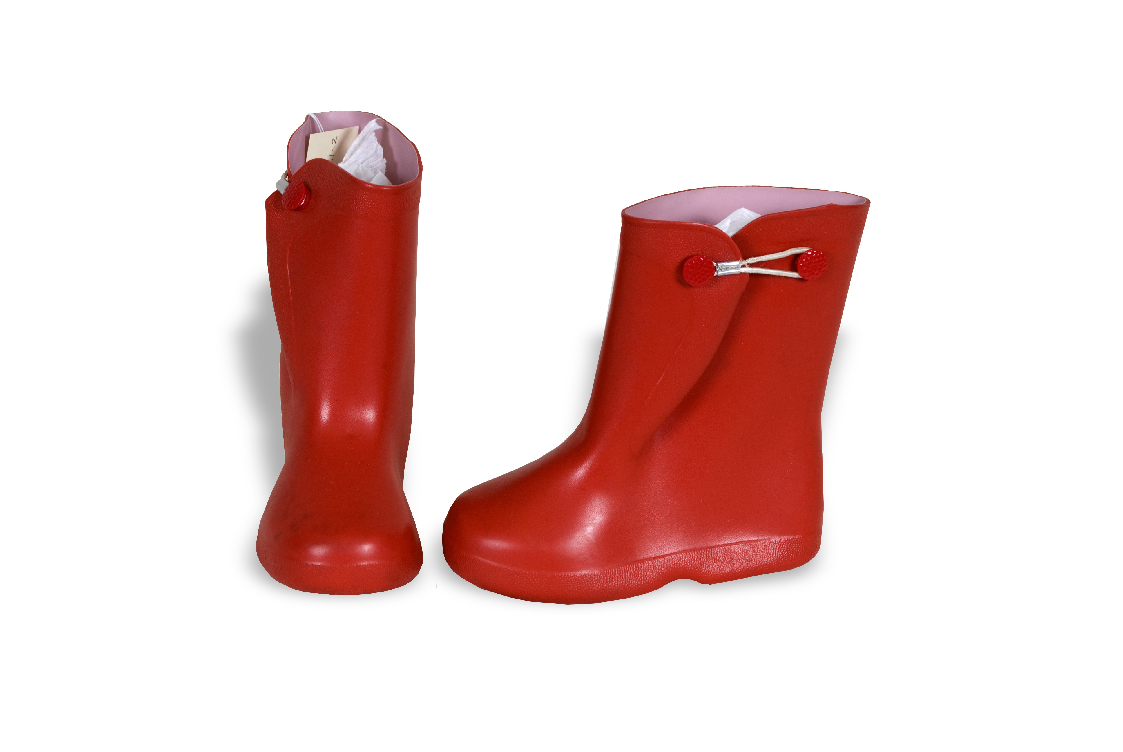 Child's red rubber galoshes