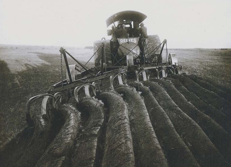 Steam tractor turns virgin soil, between 1890 and 1912