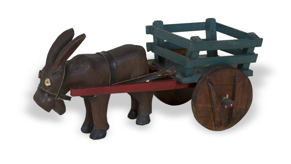 Hand-carved donkey and cart