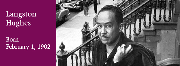 Langston Hughes, author and poet from Topeka, Lawrence, and Kansas City, born February 1, 1902