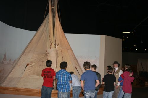 Many of the American Indians lived in tipis while on buffalo hunts.