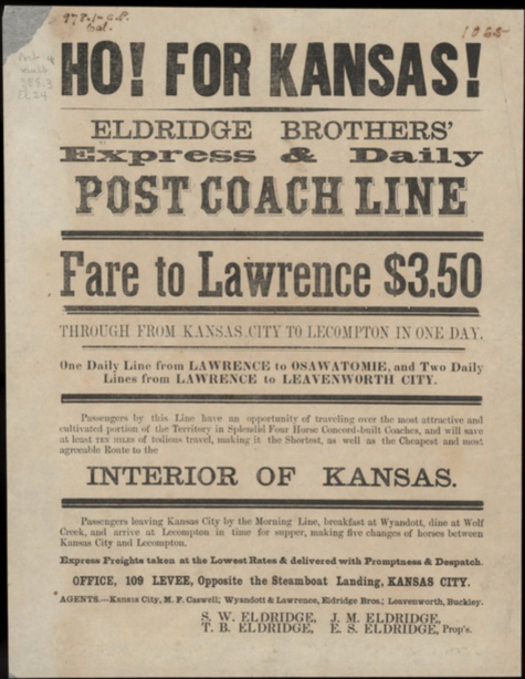 Image of a broadside advertising Eldridge Bros. Express and Daily Post Coach line fares from Kansas City to Lawrence.