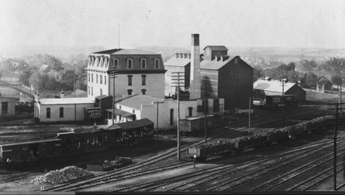 View of the Newton Milling & Elevator Company and AT&SF Railway cars and tracks, Newton
