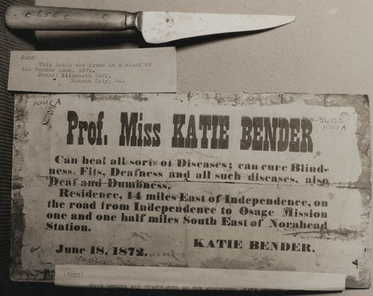 Photograph showing an advertisement for Prof. Miss Katie Bender's healing powers and a knife found in the Bender home