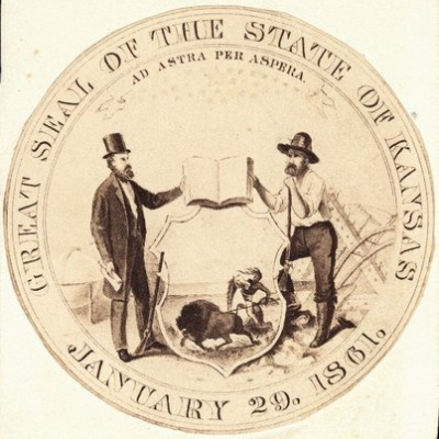 Sketch for a proposed state seal for the  state of Kansas