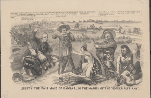 "Image  of and link to an editorial cartoon, ""Liberty, the Fair Maid of  Kansas, in the hands of the Border Ruffians"""
