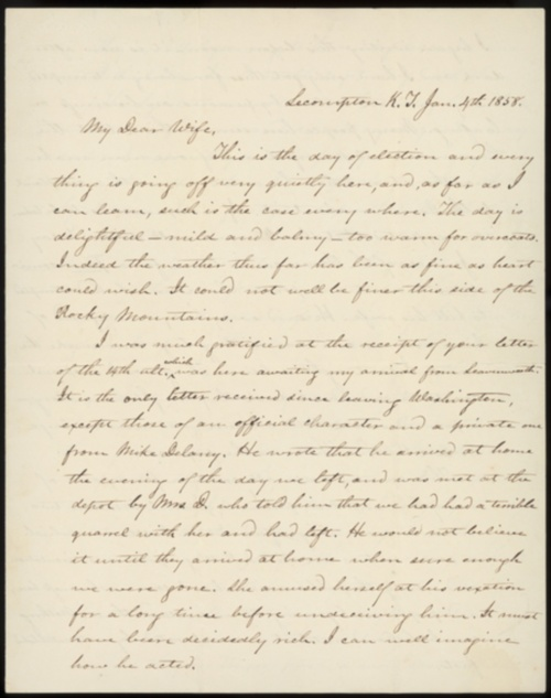 Letter from James W. Denver to his wife, January 4, 1858. CLICK TO READ.