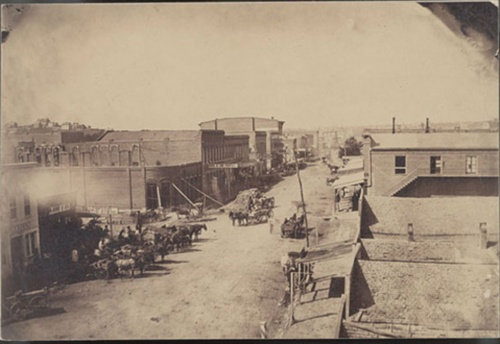 View of the main street in Atchison, circa 1860